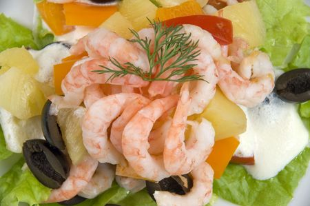 Prawn salad. Simple and healthy salad of shrimp, mixed greens, red  pepper and olive. Stock Photo