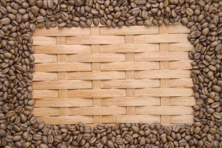 cezve: Coffee in grains on a background of a tree.