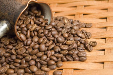Turkish coffee pot and coffee beans. Stock Photo