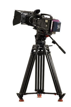 Professional digital video camera on a white background.