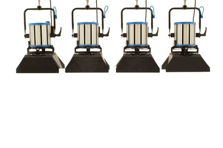 Four  searchlights on a white background. Standard-Bild