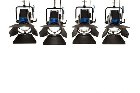 searchlights: Four  searchlights on a white background. Stock Photo