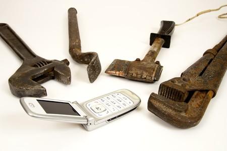Instrumentos antiguos y modernos teléfono. Foto de archivo - 4178928
