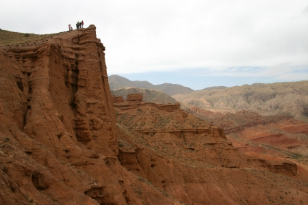 Travel in mountains of Kyrgyzstan  A red canyon