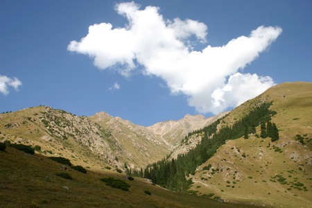 Travel on mountains and rivers of Kyrgyzstan. Standard-Bild