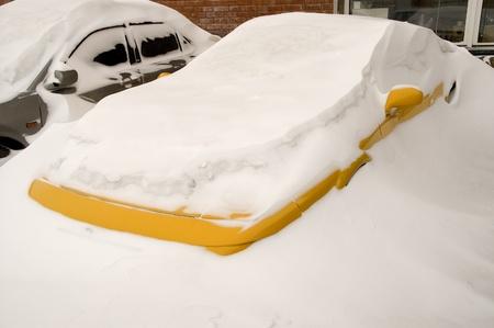 Car after abundant snowfall  Stock Photo