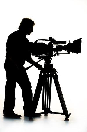 television camera: Cameraman silhouette and cameras.