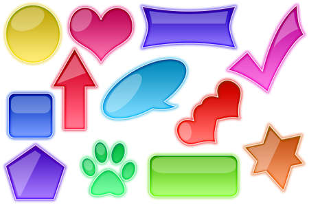 adding: Collection of brightly colored, glossy web elements. Perfect for adding your own text or icons.