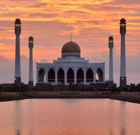 islamic scenery: Mosque in songkhla thailand on sunset