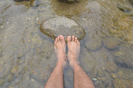 krung:  barefoot in water,krung ching water fall