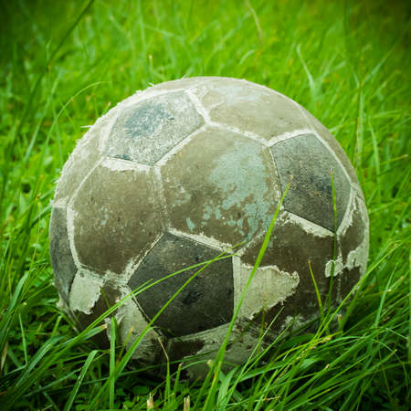 old ball put on grass process vintage style photo