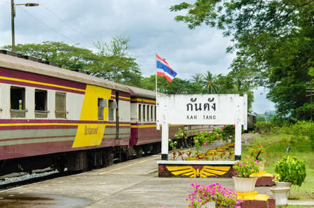 railtrack: train when stop at Kan Tang station in Thailand