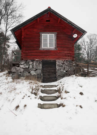 Red old Swedish house photo