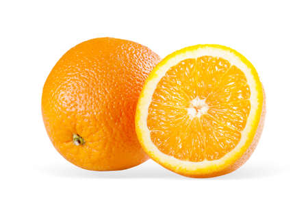 Two perfectly fresh oranges  Isolated on white  Stock Photo - 13816214