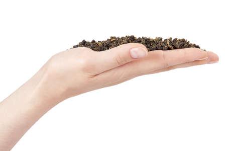 pekoe: woman hand holding greeen tea, white background Stock Photo