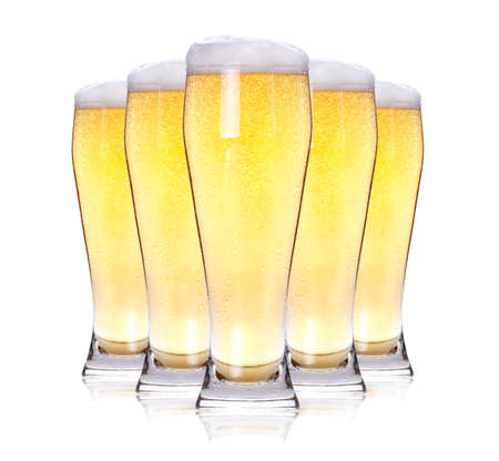 Frosty glass of light beer isolated on a white background Stock Photo - 13939855