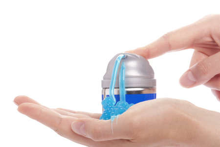 hand holding a can of shaving cream Stock Photo - 13939858