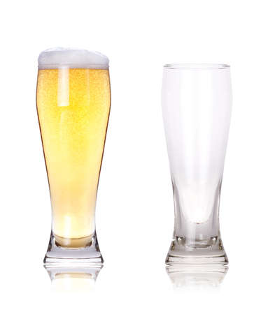 Isolated full and empty glass of beer Stock Photo - 13939866