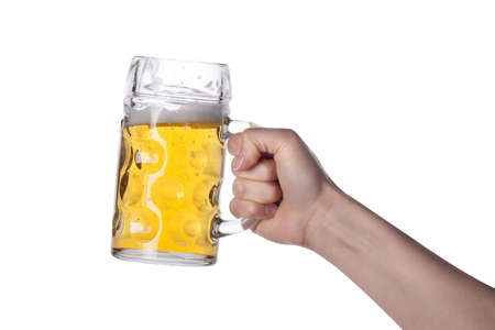 wallop: hand holding beer making a toast