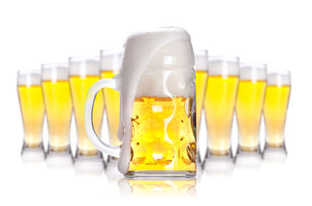 Frosty glass of light beer isolated on a white background  Stock Photo - 13969441
