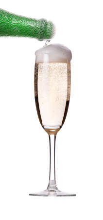 Glass of champagne on white background  Flow of champange from the top photo
