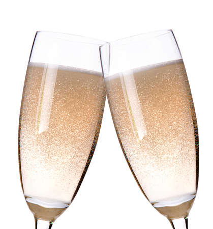 two glasses of champagne flutes on a white Stock Photo - 14023853