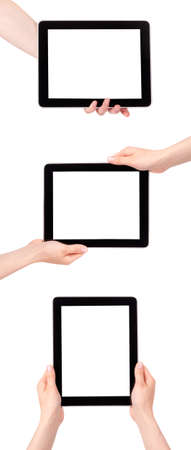 collection of Hands Holding Digital Tablets on a white background photo