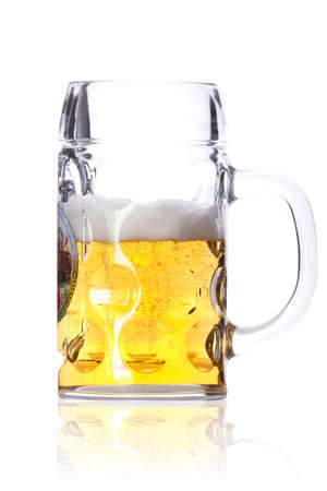 half full: Frosty glass of light beer isolated on a white background  Stock Photo