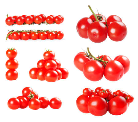 Tomatoes collection isolated on a white background photo