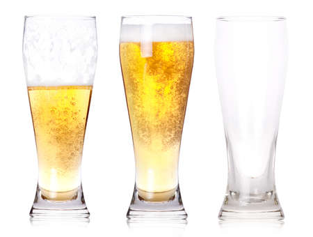 pilsner glass: Three glasses of beer with one full, one half gone, and one empty isolated on a white background.