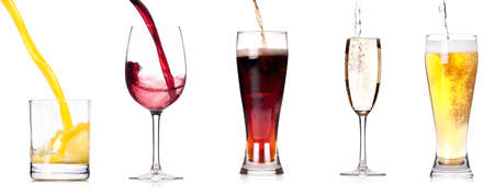Collection of different images of alcohol drinks  isolated on a white background photo