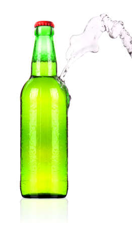 frosty Beer bottle with water splash isolated on a white background photo