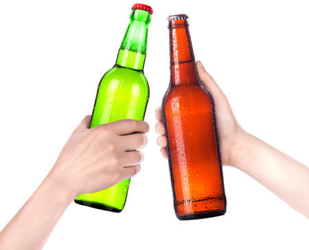 green glass bottle: Hands Clinking Glasses Beer isolated on a white