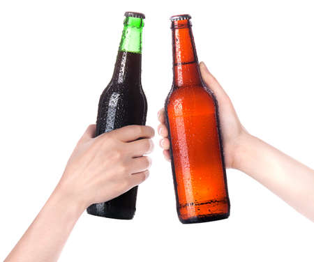 Hands Clinking Glasses Beer isolated on a white photo