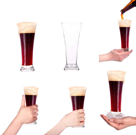 glass of beer collection isolated  Full,empty,with hand,in ice, with bottle on a white background making toast photo