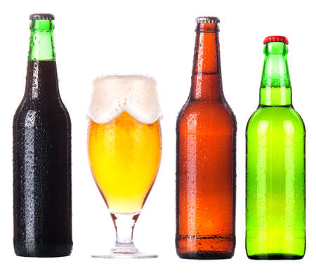 Frosty glass of beer with foam isolated on a white background Stock Photo