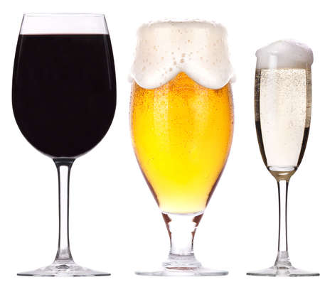 alcohol drinks set isolated on a white background photo