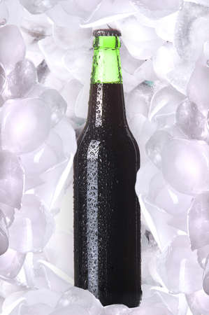 taphouse: Bottle of cold beer is in ice