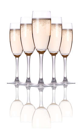 gold flute: glass of champagne flutes on a white Stock Photo