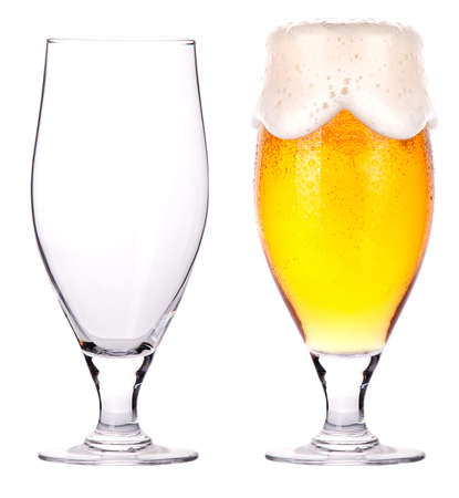 non alcoholic beer: Beer glasses  full and empty isolated on a white background