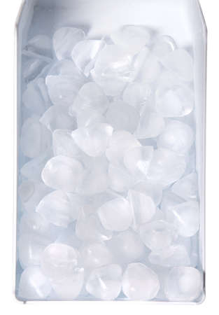 Cubes of ice in container ower white