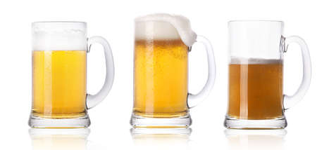 Frosty fresh beer set with foam isolated on a white background Stock Photo - 14972284