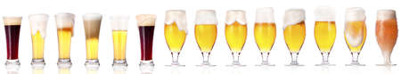 Frosty fresh beer set with foam isolated on a white background Stock Photo