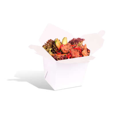 sautee: Healthy Chinese food in a container isolated on a white background