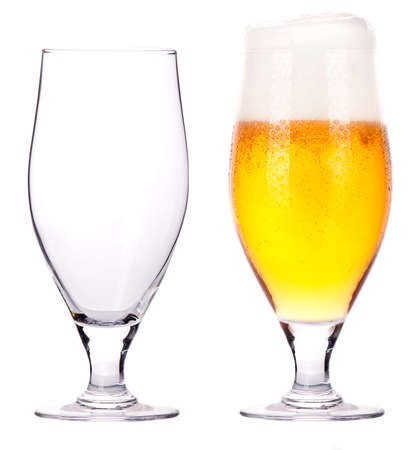 guinness: Beer glasses  full and empty isolated on a white background