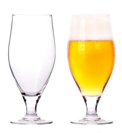 beer glass: Beer glasses  full and empty isolated on a white background