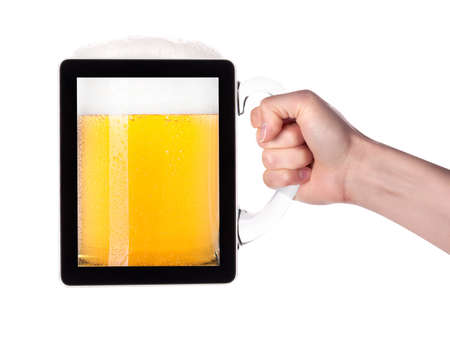 digital tablet full of of beer with hand isolated on a white background making toast photo