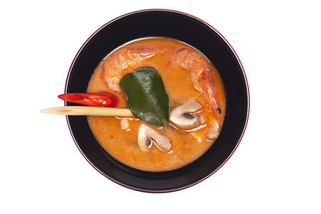 Chinese soup, Chinese style soup with mushroom and seafood photo