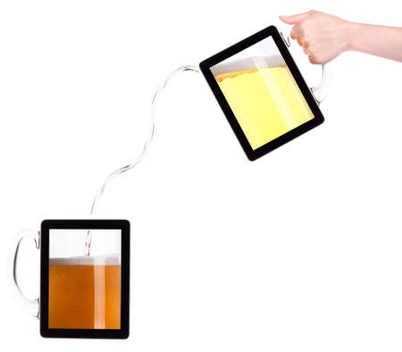 digital tablet with fresh beer pouring down isolated on a white background photo