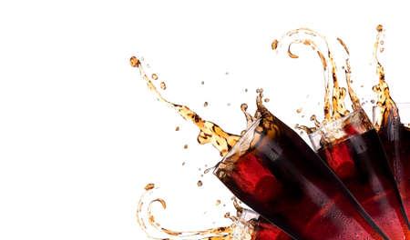Fresh coke background with splash isolated on a white